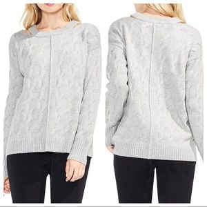Vince Camuto Gray Keyhole Neck Cable Knit Sweater